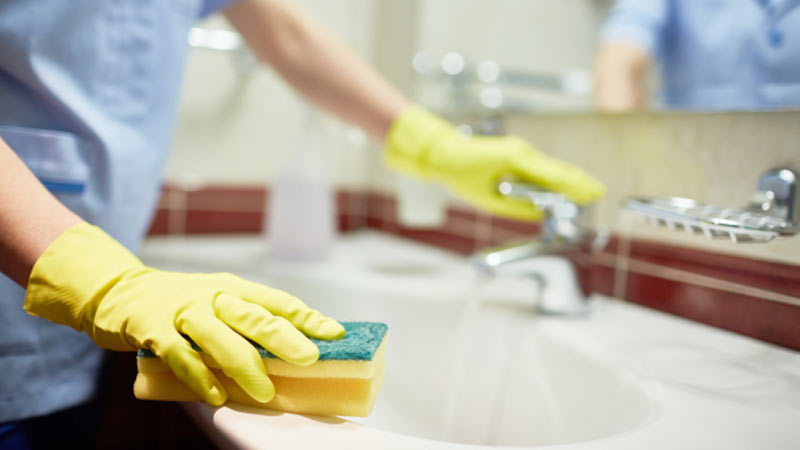 5. Wipe your sinks and mirrors.