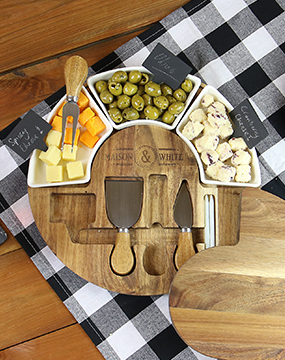 Acacia Round Cheese Board & Knives Set