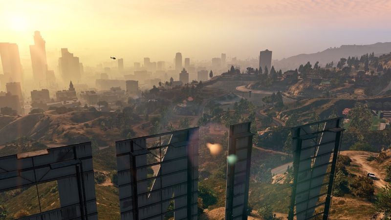 Grand Theft Auto 5 - Sunrise View Over Los Santos looking from behind the vinewood sign