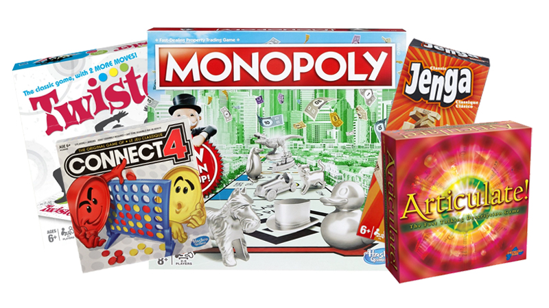 Articulate Board Game, Connect 4, Twister, Monopoly, Jenga