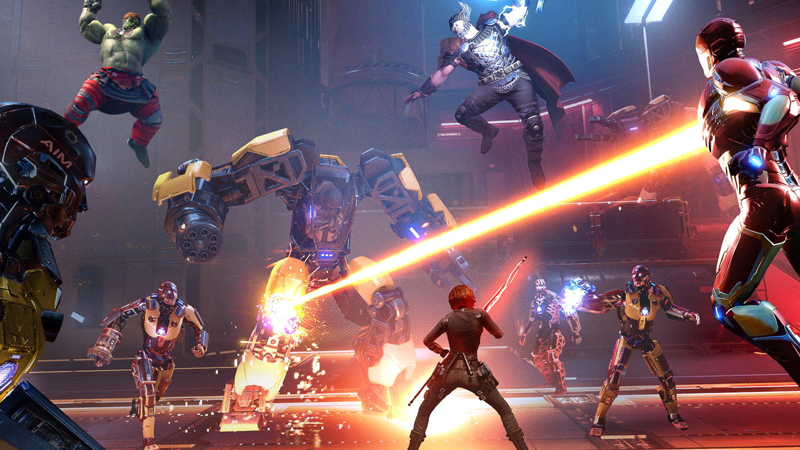Marvel's Avengers Gameplay Footage. The Superheroes gather around, hulk is in the air, iron man is shooting, they are trying to defeat the boss.