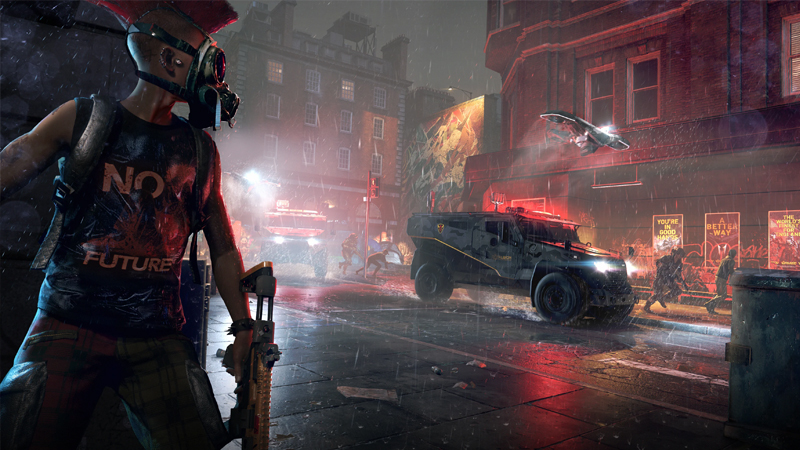 The streets of london at night. People are battling.