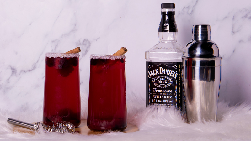 Cranberry Cinnamon Whiskey Sours